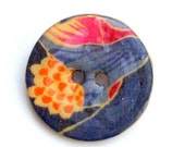 GREAT HOLIDAY SALE Wood button brooch pin in pink, blue and orange floral design 4017