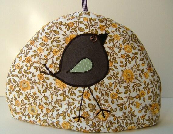 Tweet Appliqued Tea Cosy  in Vintage Printed Cotton- Cozy TCO8