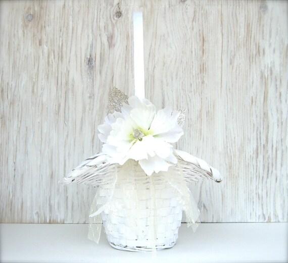 Flower Girl Basket : Shabby Chic Vintage Lace White Wedding