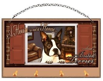 BostonTerrier Key and Dog Leash Holder