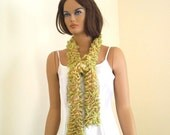 Ruffle scarf, weft, light green - fawn, fall fashion Free shipping