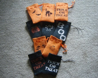 Set of TEN Burlap Halloween Gift Favor Bags
