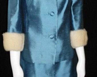 VINTAGE Suit 1960S SILK with white Mink Trim  California Designer