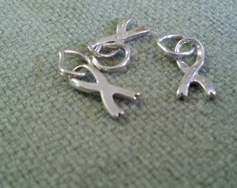 Cancer survivor ribbon, cancer awareness charms, Sterling silver charms