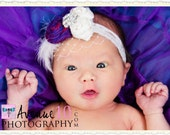 Vintage Purple and Cream Silk Handrolled Rosette Headband with soft fluffy feathers, french veiling and crystal detail