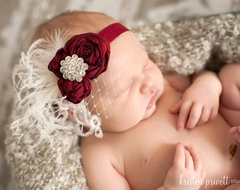 Vintage Red and Off White Silk Handrolled Rosette Headband with Curly ostrich feathers, french veiling and Crystal detail