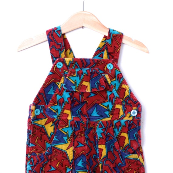 Vintage Overalls Dungarees in Red Blue Yellow Abstract Corduroy Size 18 Months