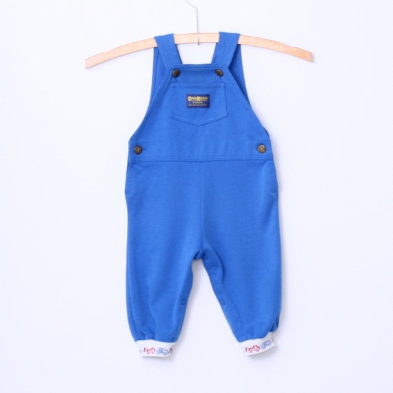 Vintage Blue Knit OshKosh Overall Dungarees 12 months