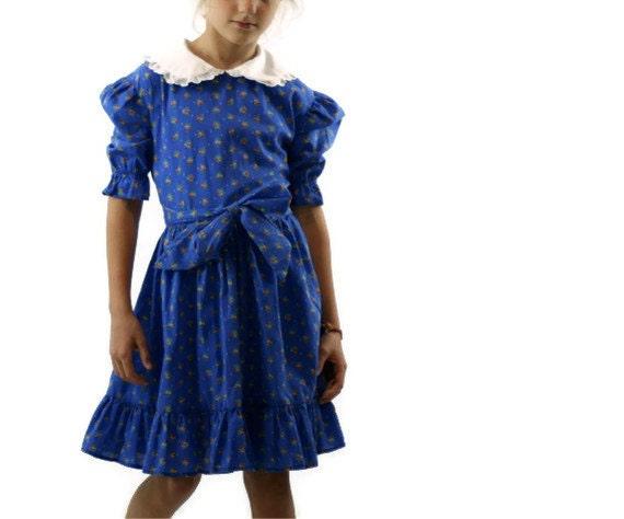 Vintage Dress in Blue Calico 1970s