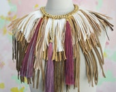 A F R I C A / White /  Brown / Purple tribal leather necklace
