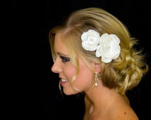 Bridal Hair Flower Duo in Satin with Beaded Crystal Center, 2 & 3 Inch Diameter Hair Flower,  White or Ivory, Style 2014, Made to Order