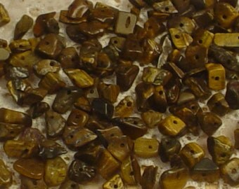 Natural Stone Semi Precious Tigers Eye Chip Beads