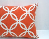 Tangerine Pillow Cover with White Geometric Circle Print - Gift Under 50