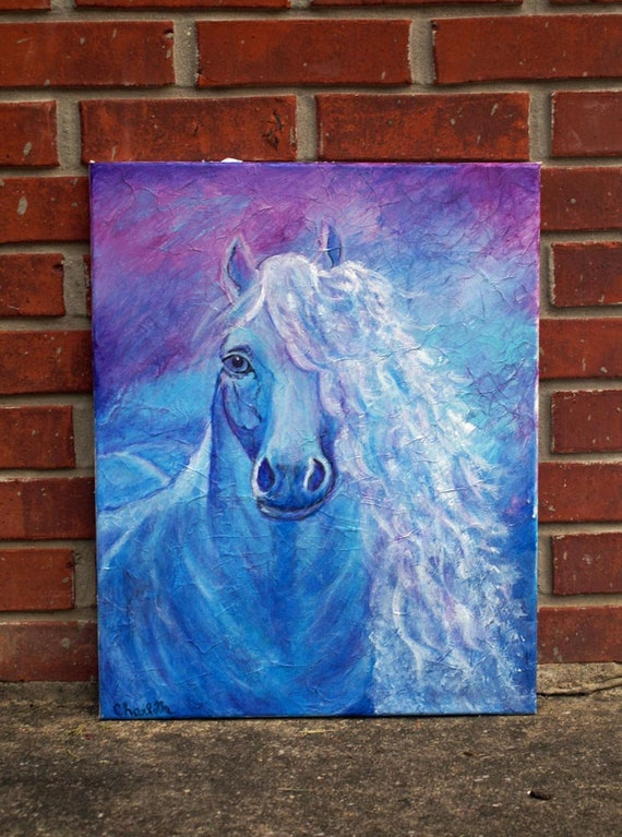 """Original Contemporary Abstract Canvas Modern Art, Acrylic Blue Horse,18 x 24"""" Inspirational Equestrian Painting called  Dream Catcher"""