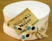 Bella white solid jelly roll cotton fabric strips