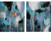 """16 x 20"""" Medium Square Contemporary Modern Abstract Diptych Mixed Media Painting Art on Canvas Turquoise Teal Purple"""