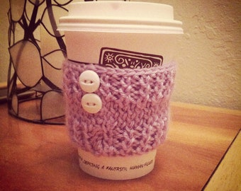 Hand Knitted Reusable Coffee Cup Cozy For Starbucks Peets or Other Cups Lavender