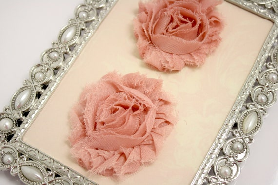 Set of Two Shabby Frayed Vintage look Chiffon Rosette Flowers, Headband Flower, Applique Flower, Decorating Fabric Flower- Dusty Rose