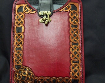 Handcarved Leather  Mini Tablet/Kindle Sleeve- One of a Kind