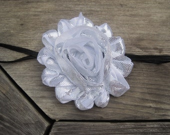 Silver Flower Headband, Baby Headband, Baby Bow, Baby Girl Headband, Infant Headband, Infant Bow, Girl Headband, Newborn Headband