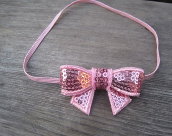 Pink Sequin Bow Headband, Baby Headbands, Infant Headbands, Girl Headbands, Baby Girl Headbands, Baby Bow