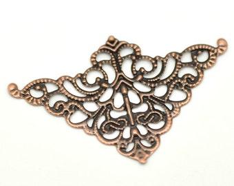 10pc Antique Copper Metal Filigree 5cm x 3.2cm Triangle Wraps--5613