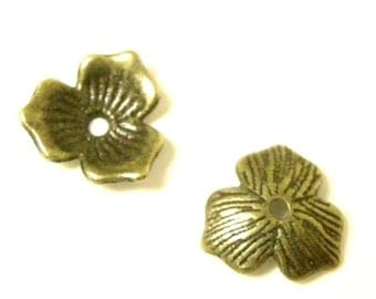 12pcs 11mm antique bronze finish flower bead caps-6112