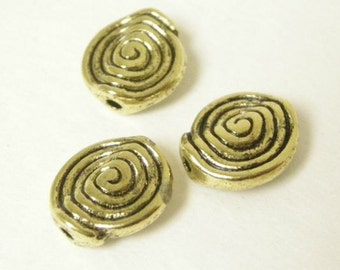 12pc 11x8mm antique gold finish metal beads-6121