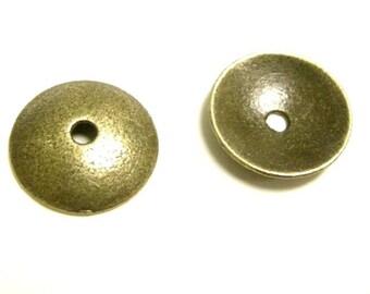 12pc 13mm antique bronze metal bead cap-6129
