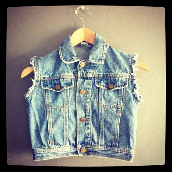 Vintage Kid's Denim Vest Sleeveless Distressed Jacket Waistcoat Age 3 Toddler