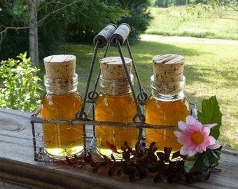 Glass Milk Bottle Jars of Golden Virgin Honey In A Rustic Chicken Wire Basket Unfiltered Unique Gift