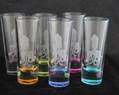 Limited Edition Tiny Kraken Squid Shot Glass Shooter Etched Multicolored Set of 6