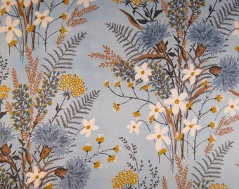 Vintage Sheet Fabric Fat Quarter - Blue and Tan Floral
