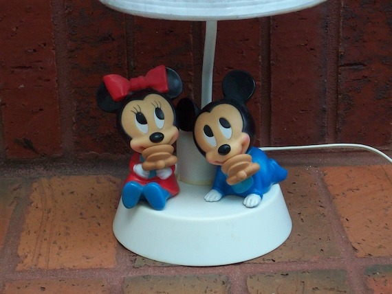 vintage lamp mickey and minnie mouse table lamp with night. Black Bedroom Furniture Sets. Home Design Ideas