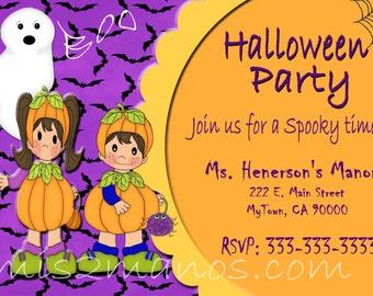 Halloween Invitation diy Printable Party Invites Personalized Custom Orders Costume Party Invitations