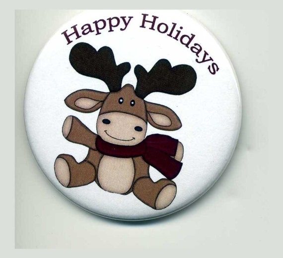 Winter Moose Magnet  Holiday Fridge Home Decorations Buttons Magnets Personalized Gifts