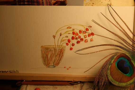 6x12 orange flowers  in a vase /simple painting /  simple home decor/ old fashioned / watercolor painting/ dried flowers/