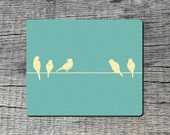 Birds on a Wire Mouse Pad - Computer or Office Work Station Decor