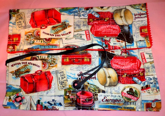 Travel Case, Roll Up Travel themed fabric with red terry cloth lining