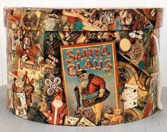 Vintage Hat Box Santa Claus Holidays Christmas Shabby Chic