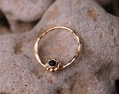 SEPTUM RING / EAR /Cartilage 14 K Gold filled with 2mm Black Onyx. Handcrafted
