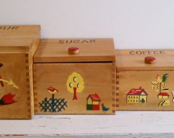 Vintage wooden canister set of 4, mid century, made in Japan circa 1950