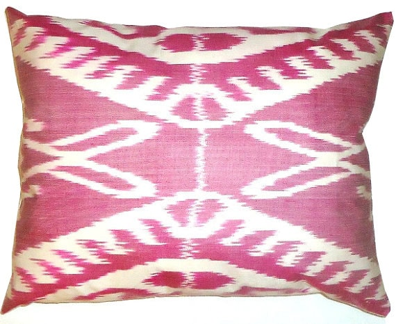 Reserved for Tricia Magenta Pink Silk Handwoven Ikat Pillow Cover (14'' x 20'') Lumbar