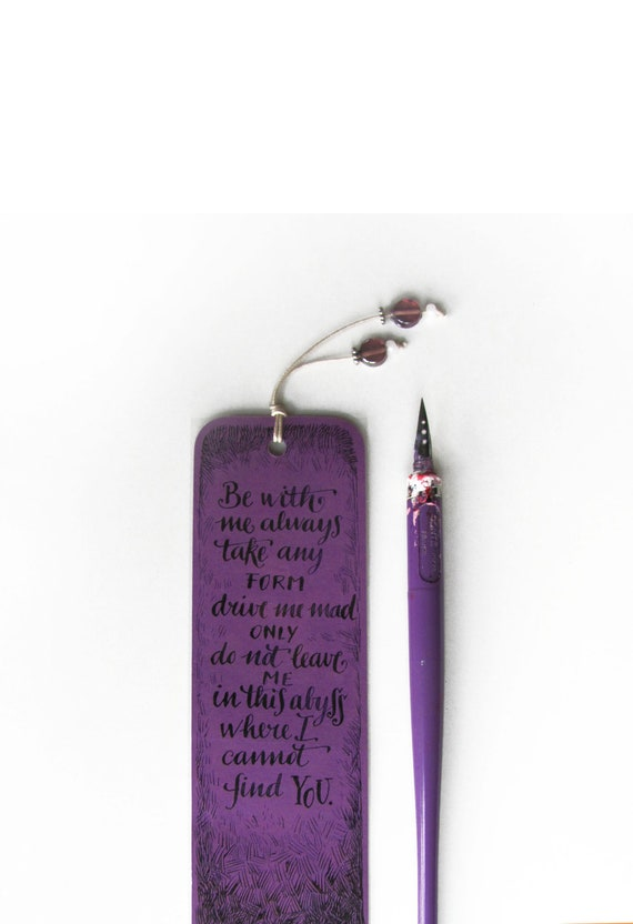 Wuthering Heights violet bookmark, with handwritten calligraphy