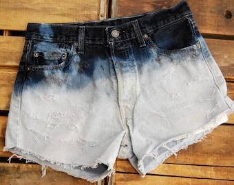 Levi Ombre Dark Blue High Waist Destroyed Shorts