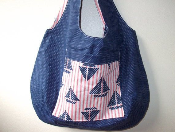 Sailboats & Polka Dots Reversible Nautical Tote