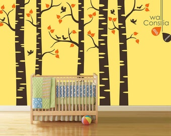 "Baby Nursery Wall Decals - Birch Trees Decal - Tree Wall Decal - Tree Wall Decals - Tree Decal - Large: approx 95"" x 136"" - K018"