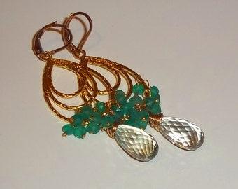 Dangle Earrings, Onxy Earrings, Gemstone Earrings, Beaded Earrings, Hoop Earrings, Cluster Earrings, Green Onyx, Prasiolite Earrings