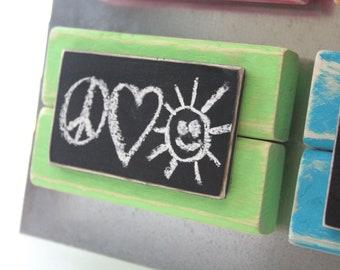 Mini Frame Chalkboard Magnet - Distressed Wood - Green