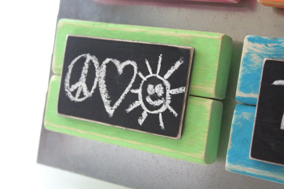 Mini Frame Chalkboard Magnet - Distressed Wood - Green